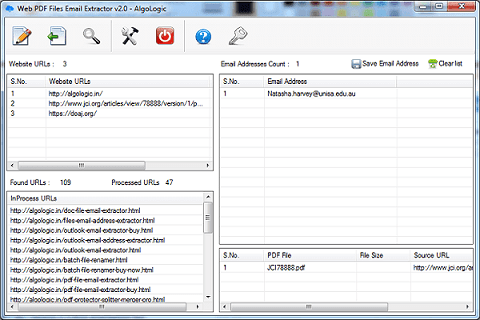 Click to view Web PDF Files Email Extractor 2.0 screenshot